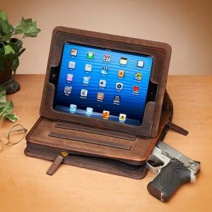 USA Bison Leather CCW Ipad Case By Gun Tote'n Mamas