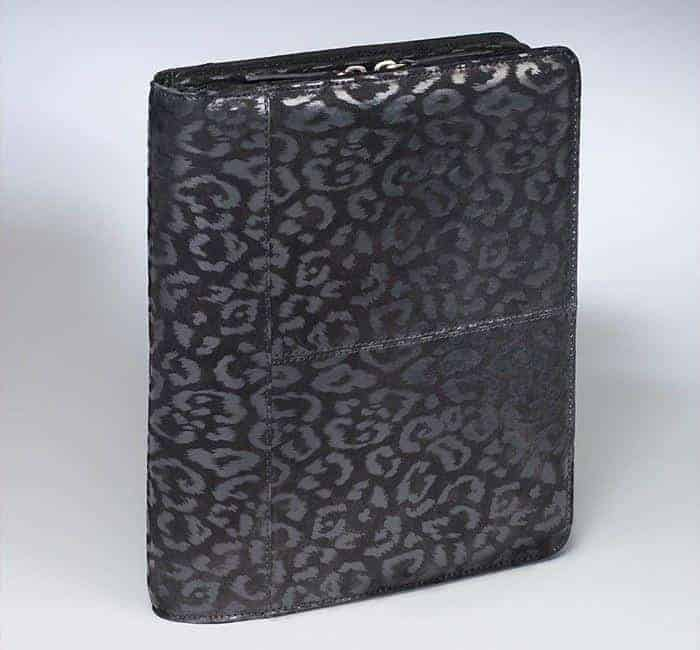 GTM-09DB Embossed Brushed Leather Leopard Ipad Case Black