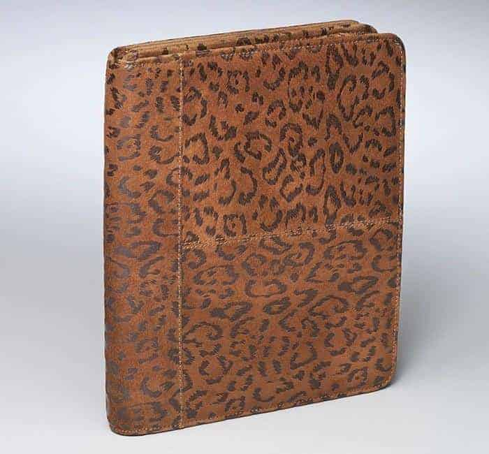 GTM-09DB Embossed Brushed Leather Leopard Ipad Case Tan
