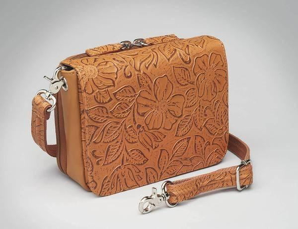 GTM-15 Cross Body Organizer Tan Tooled Cowhide