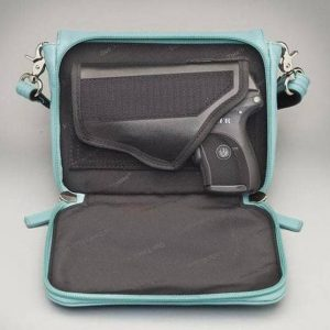 GTM 15 Cross Body Organizer Ice Blue Open With Gun