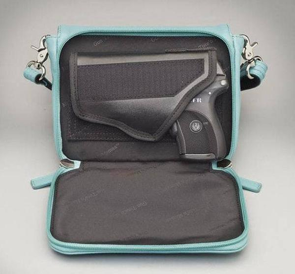 GTM-15 Cross Body Organizer Ice Blue Open with Gun