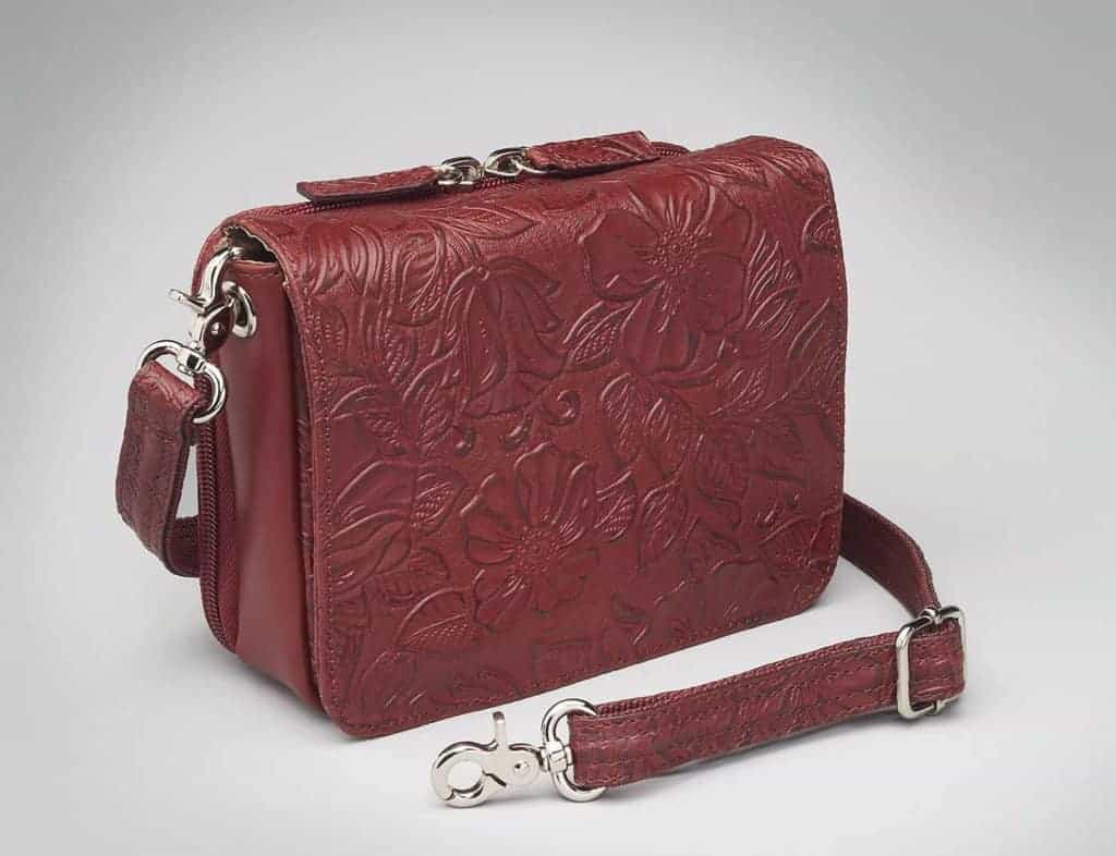 GTM-15 Cross Body Organizer Red Tooled