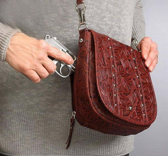 GTM-16 Simple Bling Tooled Leather Cherry Action with Gun