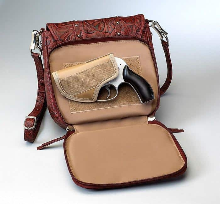 GTM-16 Simple Bling Tooled Leather Cherry Open with Gun