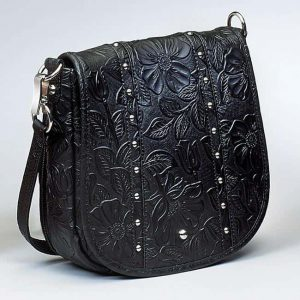 Simple Bling Tooled Leather CCW Purse – 3 Colors – Gun Tote'n Mamas