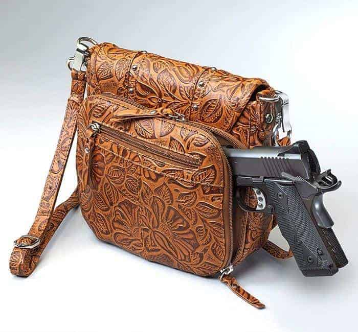 GTM-16 Simple Bling Tooled Leather Tan with Gun