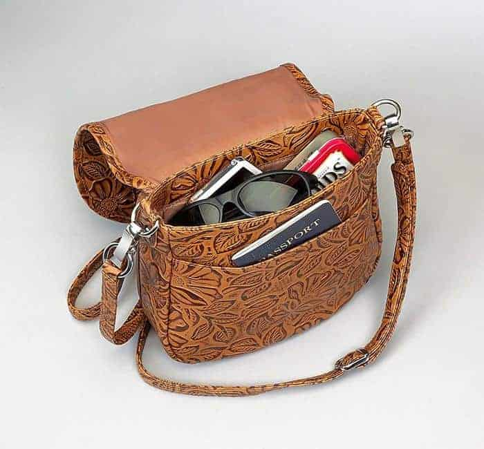 GTM-16 Simple Bling Tooled Leather Tan Open with Props