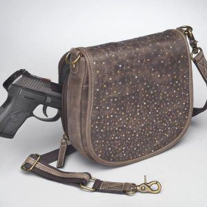 GTM/CZY 16 Simple Bling Distressed Buffalo Pouch Front With Gun