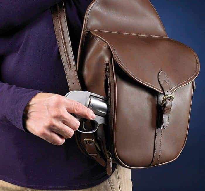 GTM-189 concealed Carry Shoulder Saddlebag Mocha Brown Draw