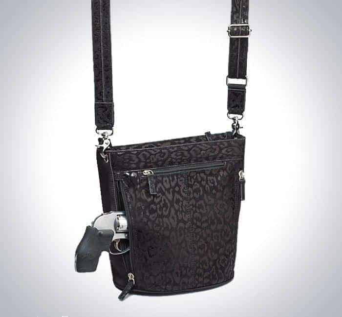 GTM-21 DB/BK Bucket Tote -debossed Sueded Leather with Gun