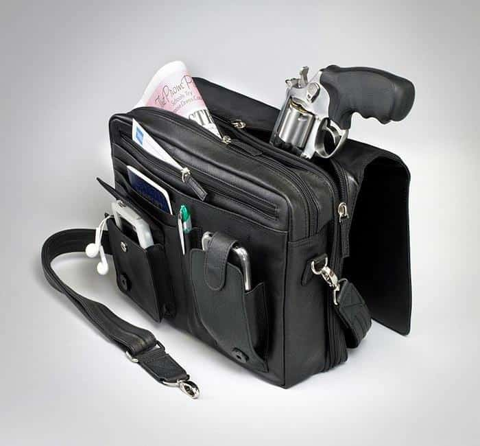 GTM-26 Flap Over Messenger Black Open with Gun