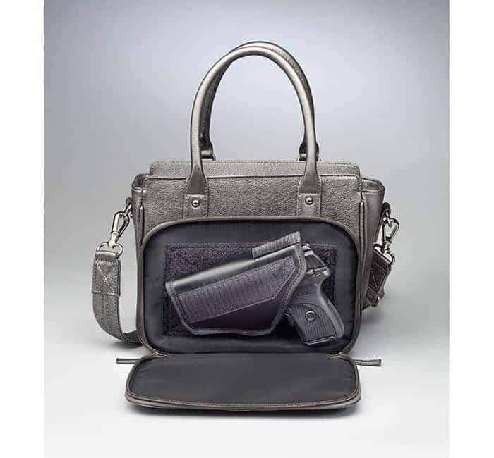 GTM-52 Park Avenue Tote Gunmetal Open with Gun