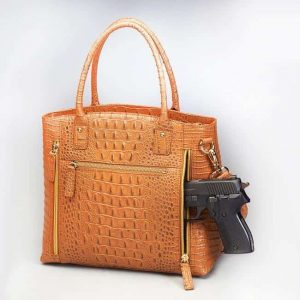 GTM 53 Town Tote 3 D American Debossed Croco Pattern Cowhide Back With Gun