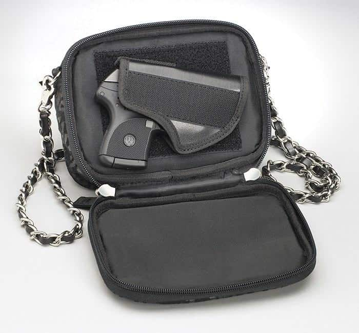 GTM-60 Evening Shoulder Pouch Open with Gun