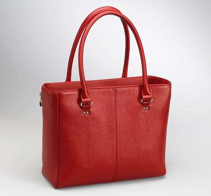 GTM-63 Traditional Open Top Tote Debossed Sueded Leather Red