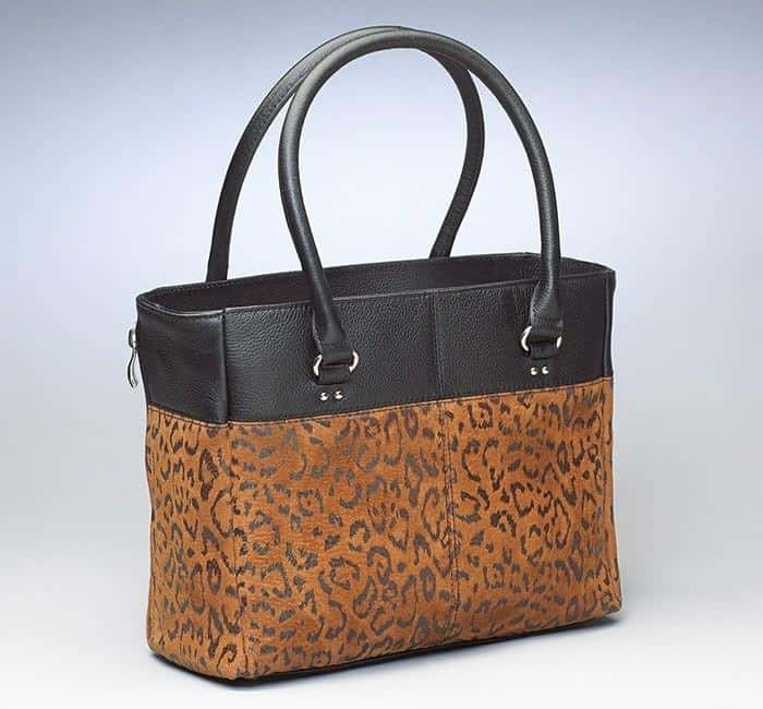 GTM 63 Traditional Open Top Tote Debossed Sueded Leather Tan