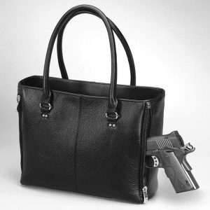 Traditional Tote Leather Conceal Carry Purse With Open Top
