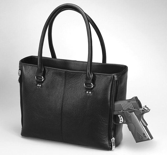 Traditional Open Top Tote Leather Conceal Carry Purse