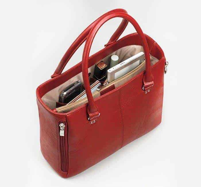 GTM-63 Traditional Open Top Tote Debossed Sueded Leather with Props