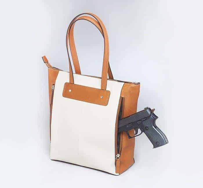 GTM-66 American Cowhide Vertical Shopper Back with Gun