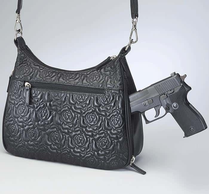 GTM 71 Embroidered Lambskin Basic Hobo With Gun