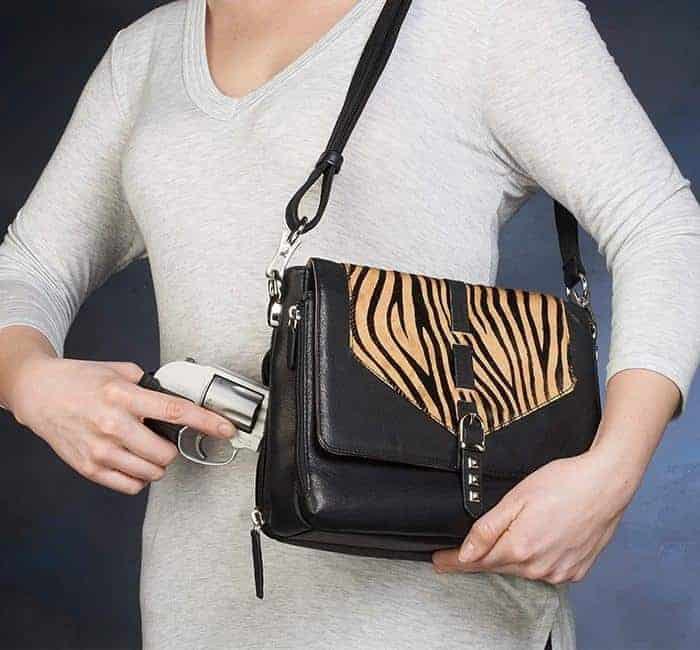GTM-73 Zebra Print Shoulder Clutch Action