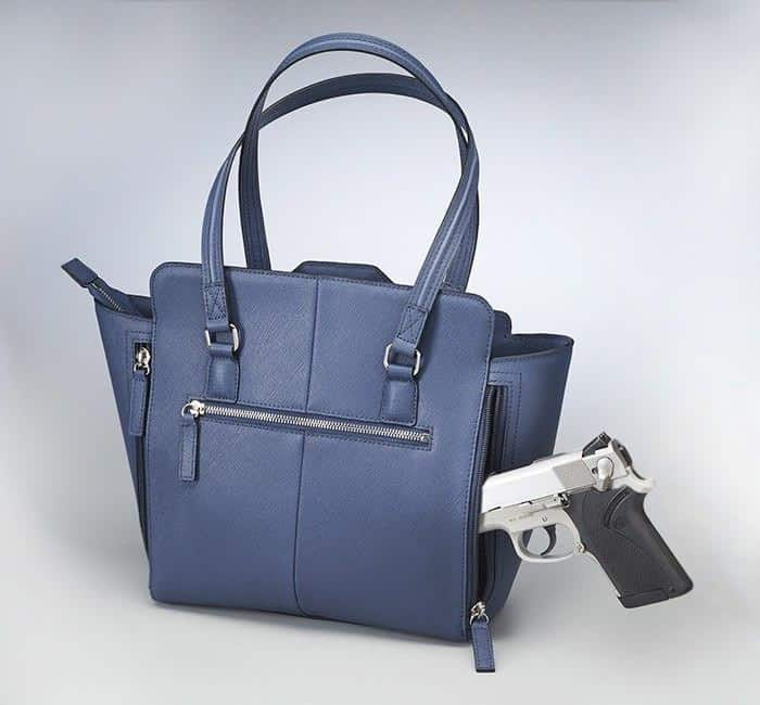 GTM-77 Blue Studded Tote Back with Gun