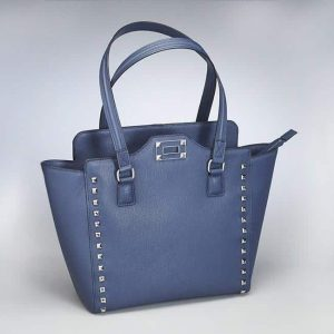 Studded Tote In Beautiful Sunset Blue Leather
