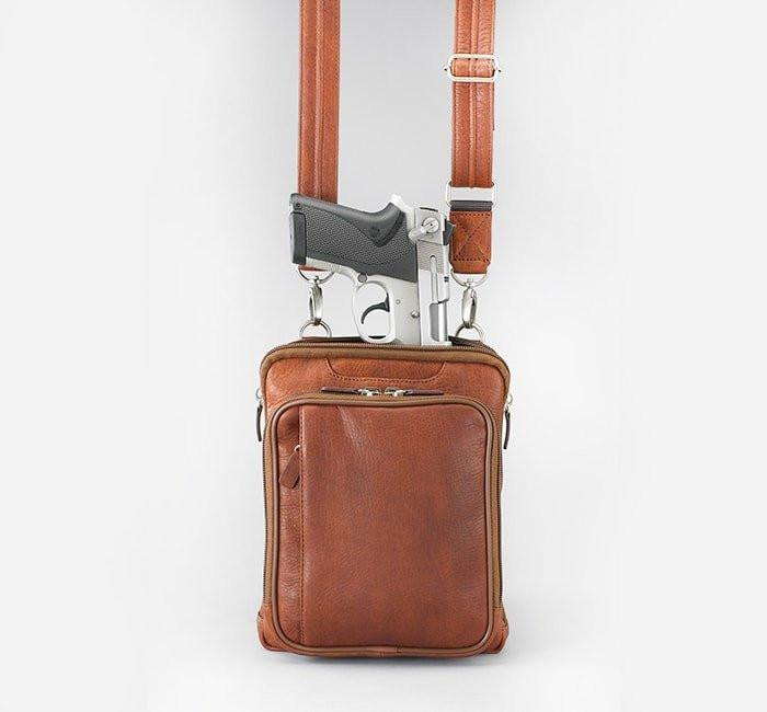 GTM-99 Concealed Carry Raven Shoulder Pouch Saddle Tan with Gun