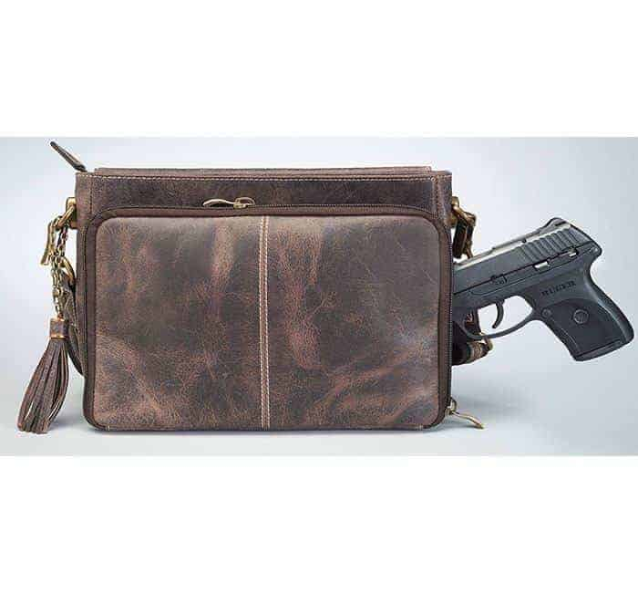 GTM/CZY-22 Distressed Buffalo Leather Shoulder Clutch with Gun