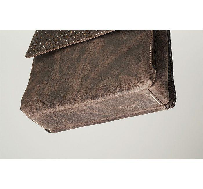 GTM/CZY 22 Distressed Buffalo Leather Shoulder Clutch Bottom