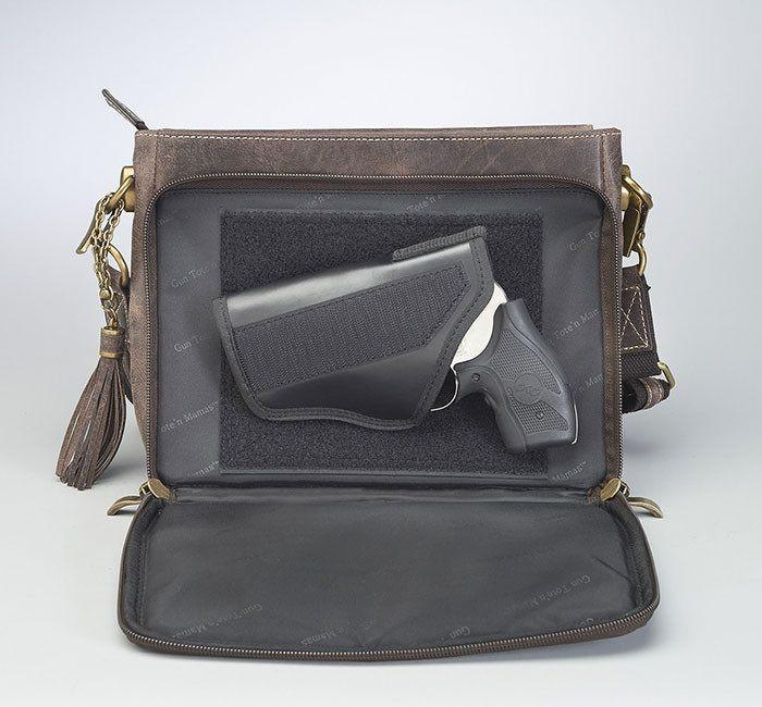 GTM/CZY-22 Distressed Buffalo Leather Shoulder Clutch Open with Gun