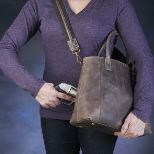 GTM/CZY 51 Distressed Buffalo Leather Town Tote Action With Gun