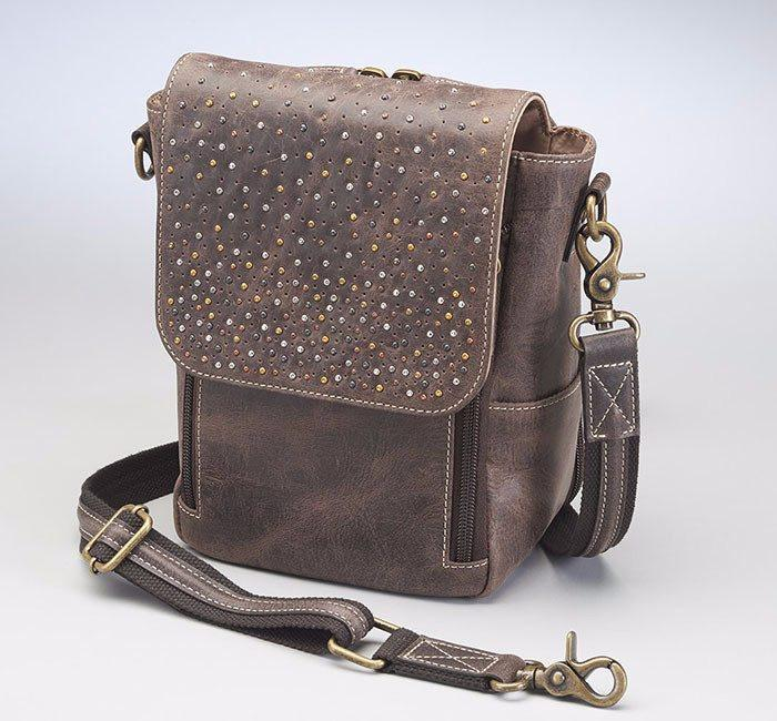 GTM/CZY-80 Distressed Leather Cross Body Satchel front