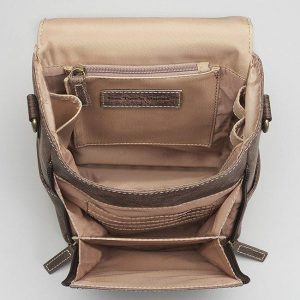 GTM/CZY 80 Distressed Leather Cross Body Satchel Open
