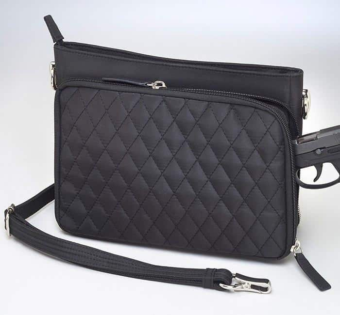 GTM/QMF-22 Quilted Shoulder Clutch Back with Gun