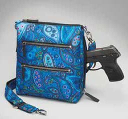 GTM-MF/20 Paisley Blue X-Body Flat Sac Front with Gun