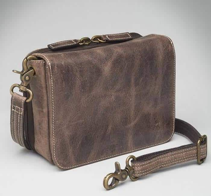 Distressed Buffalo Leather Cross Body Organizer