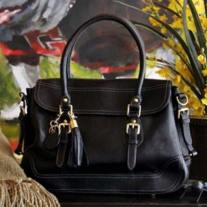 Smooth Aged Leather Satchel – Black