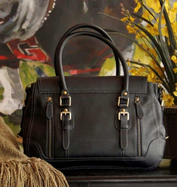 aged black leather satchel 4