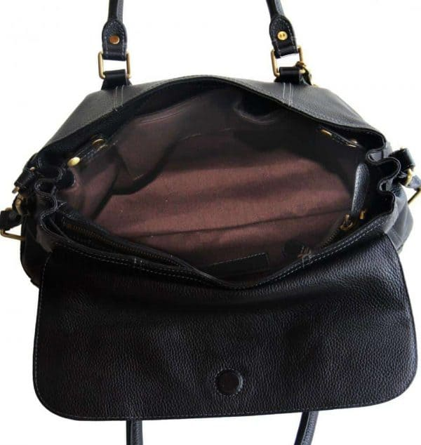 aged black leather satchel 6