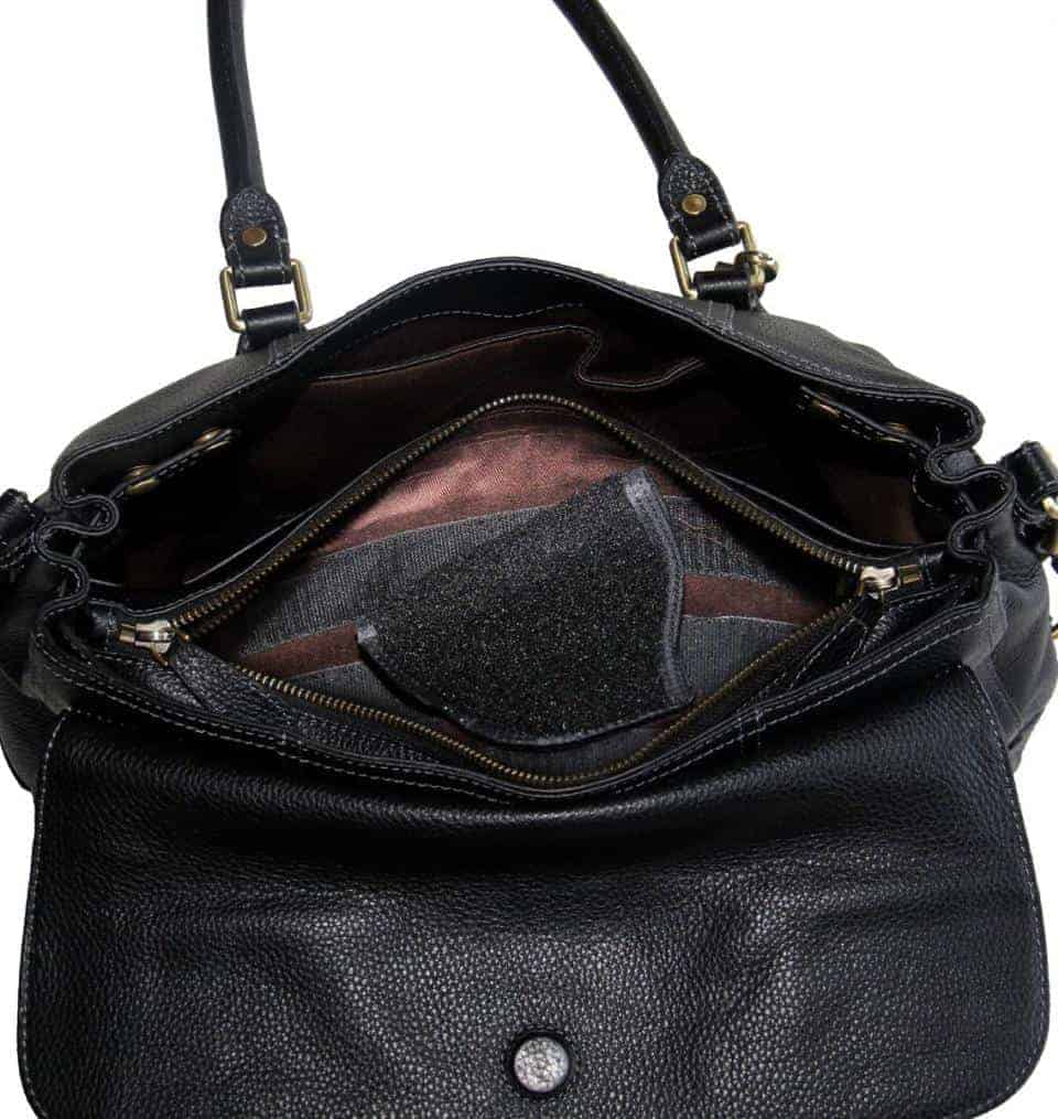 aged black leather satchel 7