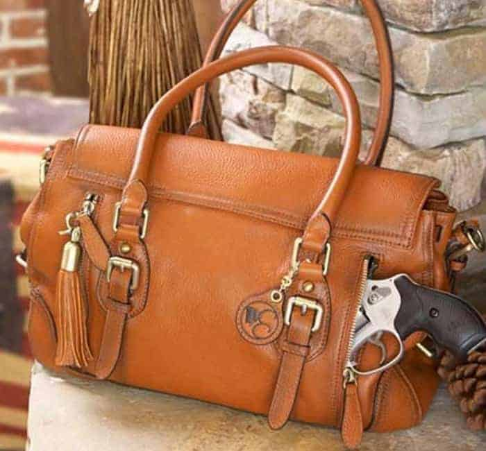 Smooth Aged Leather Satchel By Concealed Carrie
