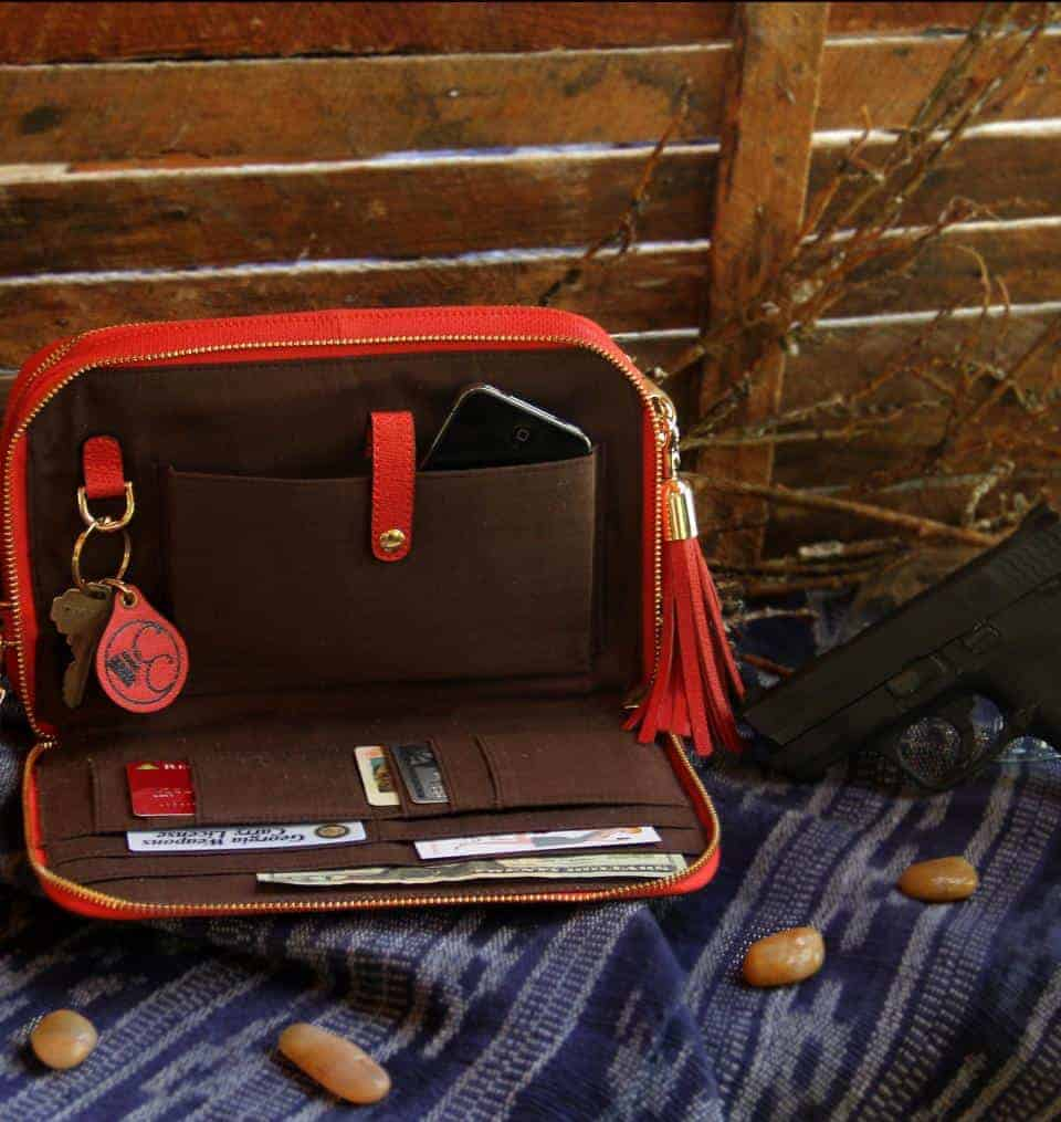 Concealed Carry Purse - Bright Red Leather Compact Carry