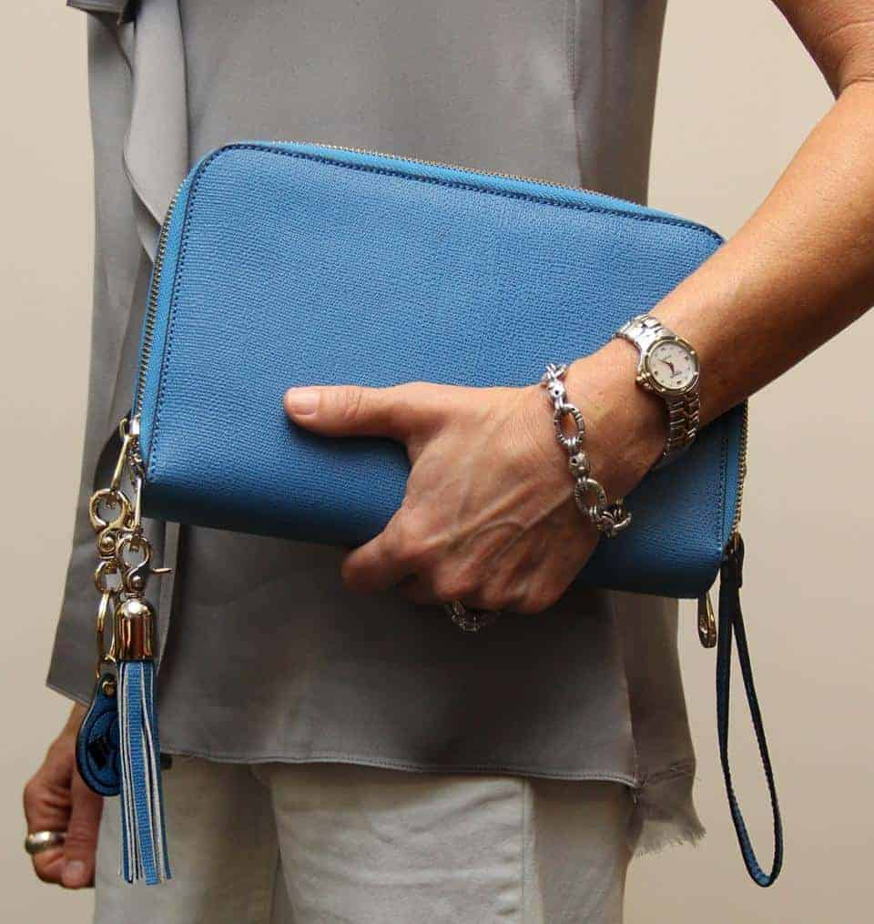 Concealed Carry Purse - Cool Blue Leather Compact Carry