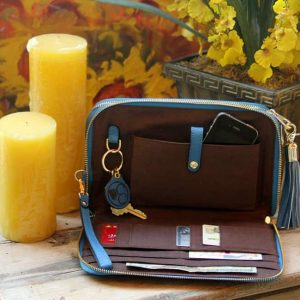 Concealed Carry Purse – Cool Blue Leather Compact Carry