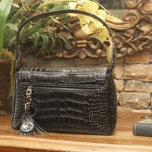 Black Crocodile Print Leather Shoulder Clutch Back