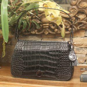 Black Crocodile Print Leather Shoulder Clutch