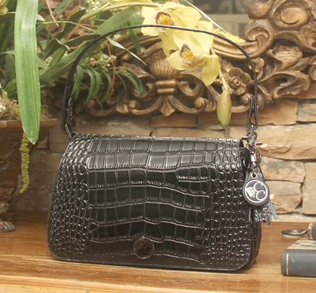 Black Crocodile Print Leather Shoulder Clutch